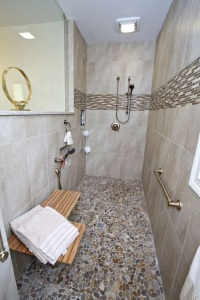 Bathroom remodel with shower bench